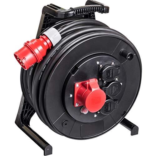 JUMBO® L CEE-Kabeltrommel 400 V mit 3 Steckdosen H07RN-F Leitungsfarbe schwarz, Querschnitt 5 x 2,5 mm², Länge 30 m