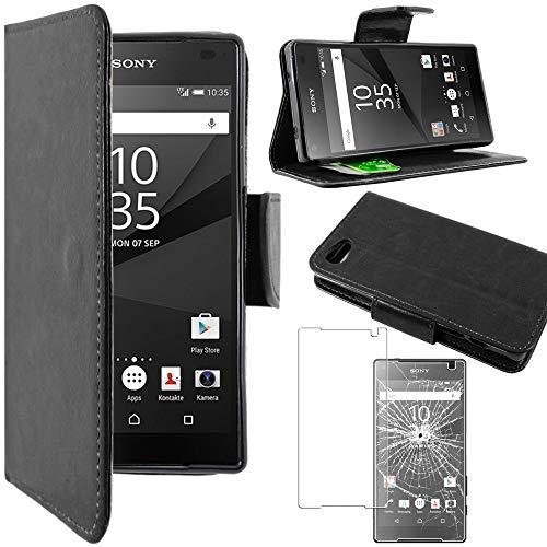 """ebestStar - Coque Compatible avec Sony Xperia Z5 Compact Etui PU Cuir Housse Portefeuille Porte-Cartes Support Stand, Noir + Film Verre Trempé [NB: Lire Description][Appareil: 127 x 65 x 8.9mm 4.6""""]"""
