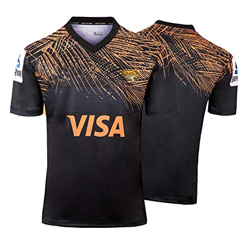 Herren Rugby Trikot, 2020 Jaguars Rugby Polo Shirt Training T-Shirt, Supporter Rugby T-Shirt Sport Top, Neue Sport T-Shirts-Black-S