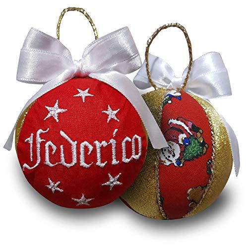 Crociedelizie, pallina di Natale personalizzata 8 cm nome ricamato decorazione natalizia personalizzabile rosso bianco e lurex oro dorato idea regalo + scatola regalo in omaggio