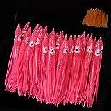 イカスカートルアー 夜光 ソフト 仕掛け自作 ソフトルアー タコ釣り用品 釣り餌 5cm 30本 セット ピンク