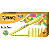 BIC Brite Liner Highlighter, Chisel Tip, Yellow, 12-Count