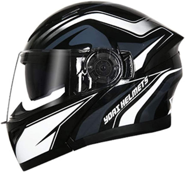 Songlin@yuan Multifunction blueeetooth Helmet Double Lens Electric Motorcycle Men and Women Four Seasons Universal Open face Helmet Full Helmet Helmet  Black and White  Large Predection