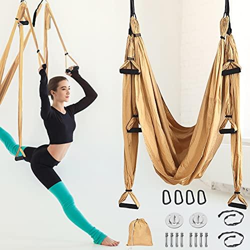 PaNt Aerial yoga gunga set med teleskopfjäderspänne, 250 x 145 cm yoga hängmatta flygande yogakit...