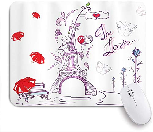Benutzerdefiniertes Büro Mauspad,Eiffelturm Herbst Romantik Paris Historischer Valentinstag Regenschirme Gekritzel,Anti-slip Rubber Base Gaming Mouse Pad Mat