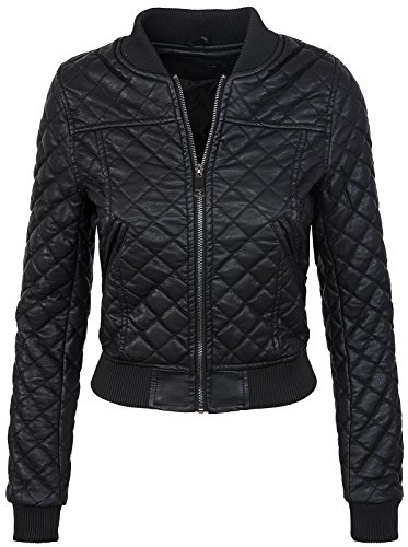Rock Creek Selection Damen Bomberjacke Kunstleder Jacke D-299[PU2380 Schwarz 36]