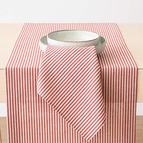 LinenMe Chemin de Table en Lin et Coton, Collection Jazz, Rouge