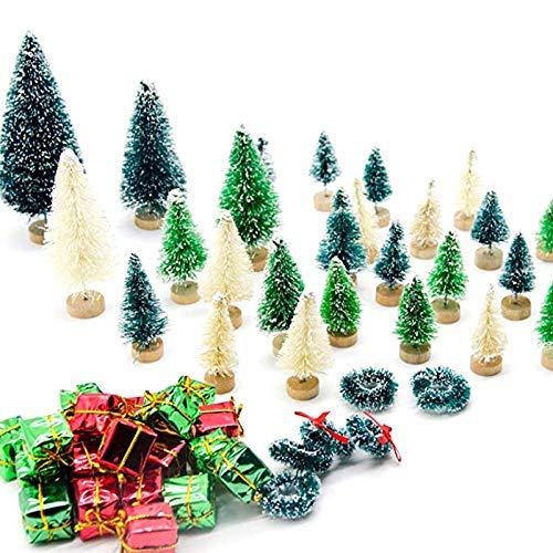56 piezas de árboles de Navidad artificiales en miniatura Sisal helado árboles de Navidad árboles de cepillo de botella para manualidades de bricolaje hogar