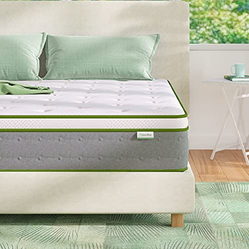 King Mattress, Novilla 10 Inch Hybrid Pillow Top King Size Mattress in a Box with Gel Memory Foam & Individually Wrapped Pocket Coils Innerspring for a Cool & Peaceful Sleep