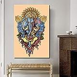 NIMCG Ganesha Art Wandkunst Leinwand Poster und Drucke Leinwand Malerei dekorative Bild für Büro Wohnzimmer Home Decor Wallpaper (kein Rahmen) 60x80CM