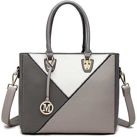 Miss Lulu Damen Handtasche Shopper Mehrfarbig Groß für Büro Schule Reise