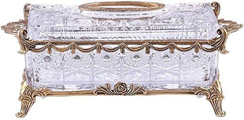 Caja de pañuelos, taller de pañuelos de cristal de cristal cubierta de cubierta de cobre puro decoración de encaje con flecos americano organizador de servilletas de alta gama Estuche de tejido facial
