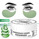 Thompson & Wood - Almohadillas para los ojos contra ojeras, natural, elimina bolsas y arrugas, aloe vera, té verde, 30 pares, alta calidad