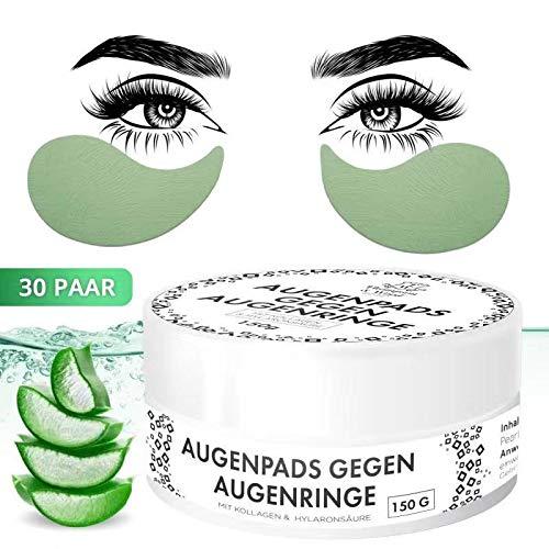 Augenpads gegen Augenringe | Natürlich | Beseitigt Tränensäcke & Falten | Aloe Vera | Grünen Tee | 30 Paar | Hochwertige Qualität von Thompson&Wood