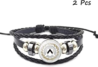 FANwenfeng Retro Serie A Soccer Club Badge Beaded Woven Leather Bracelet Football Sport Wristband for Fans 2 Pcs