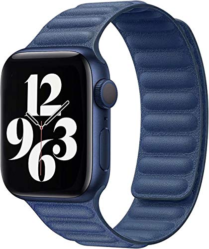 Fengyiyuda Correa Compatible con Apple Watch Correa 38mm 40mm 42mm 44mm,Correa Ajustable Correa de eslabones de piel Fuerte magnético Compatible con iWatch Series SE/6/5/4/3/2/1(42/44mm Azul)