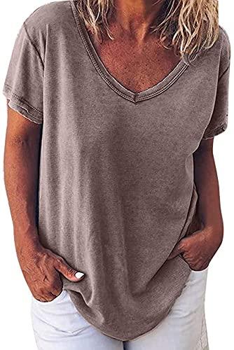 Ranhkdn Camiseta de manga corta para mujer, de color sólido, con cuello en V, para uso diario, casual, suelta