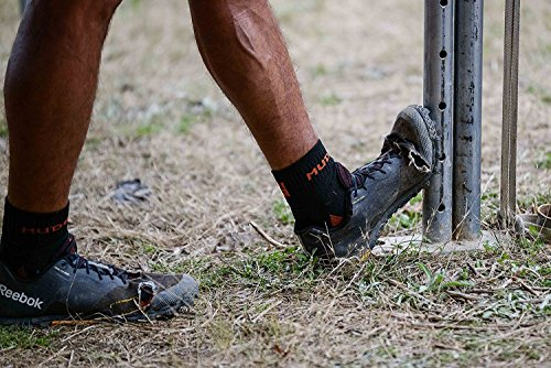 MudGear Trail Running Socks for Men and Women, Made in USA - 2 Pair Pack (Black/Orange, Large)