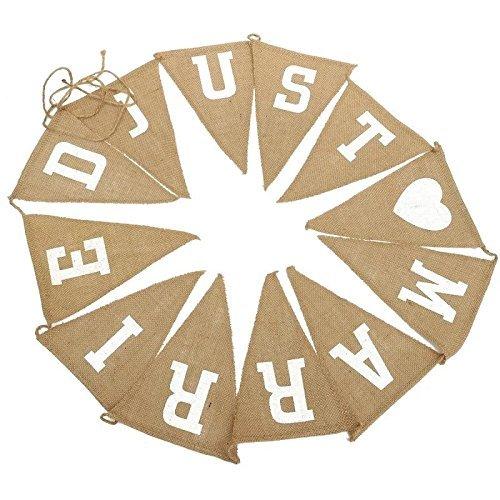 Kanggest 2.8 m/9 Pieds en toile de jute Lin fanions en toile de jute Tissu Décorations de mariage Triangle drapeaux pour mariage vintage (Just Married)