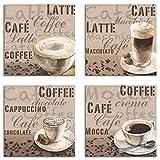 Artland Leinwandbilder auf Holz Wandbild Bild Set 4 teilig je 20x20 cm Quadratisch Getränke Kaffee Malerei Creme Milchkaffee Latte Macchiato A6PL