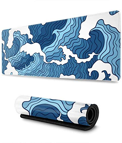 Japanese Blue and White Wave Extended Gaming Mouse Pad Large Mousepad with Stitched Edges, Keyboard Pads Mat for Gamer Computer Office Home 31.5x11.8 in