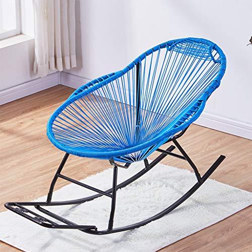 Shi xiang shop Silla Mecedora for Tejer, Silla ergonómica Moderna de Acento for el Patio, Silla cómoda reclinable y Base de Acero, sillón Interior for Muebles/Exterior/Porche (Color : Blue)