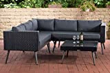 CLP Polyrattan Eck-Loungeset MOLDE I Schwarz I Gartenlounge I Eck-Sofa + Glastisch I 1,25mm Rattandicke, Farbe:eisengrau, Sitzhöhe/Farbe:45 cm (Darkgrey)