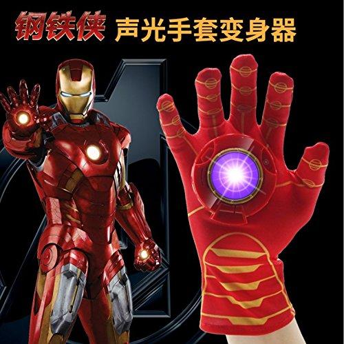 超凡蜘蛛侠手套 儿童玩具 手腕发射器 蝙蝠侠手套 动漫玩具 钢铁侠 (钢铁侠声光手套变声器)