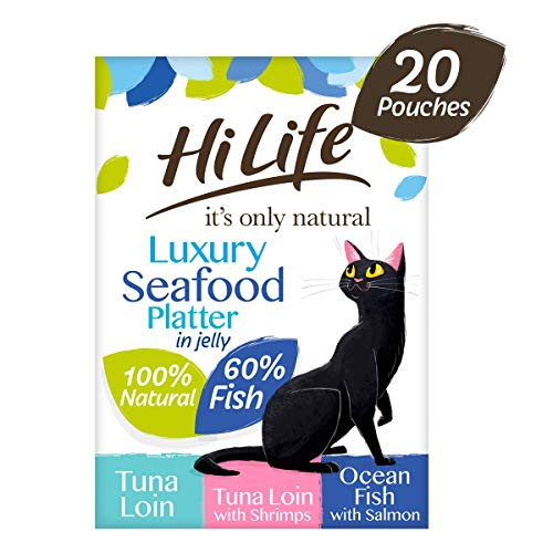 HiLife it's only natural - Wet Cat Food - Luxury Seafood Platter in Jelly Tuna Loin Salmon Shrimps - 100% Natural Grain Free, 20 Pouches x 50g