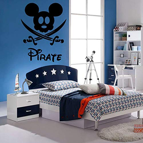 Mickey Muse-sticker, cartoon mickey mouse, decoratieve muurstickers, voor kinderkamer, pirate thuis, decoratieve messen voor jongens, kamers 59.7x89.4 cm