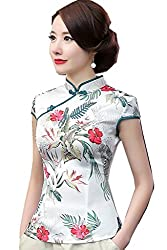 Women's Faux Silk Tang Suit Chinese Shirt Blouse Top