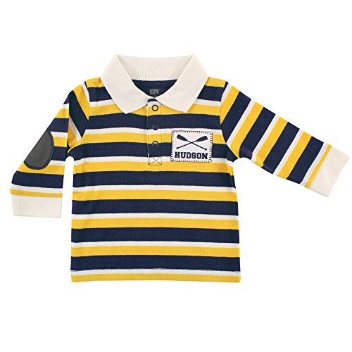 Hudson Baby Long Sleeve Striped Polo Shirt - Rowing, 0-3 Months