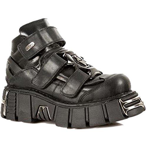 Smart Range M.285-S1 Newrock Chaussures en Cuir Noir métallisé Gothique/Punk Unisexe (Mens UK 11 / EU 45)