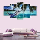 Hamaca con Vistas al mar árbol de Coco Vacaciones Tropicales Lienzo Pintura Pared Arte Impresiones decoración del hogar Imagen para Sala de estar-20x35 20x45 20x55cm Sin Marco