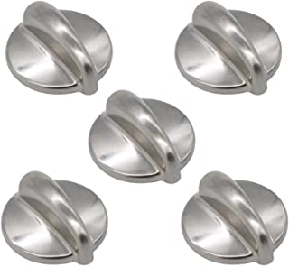 WB03K10303 Chrome Cooktop Control Knob Heavy Duty Metal Knobs Replacement Compatible with GE Replacement by AMI PARTS (5 Pack)