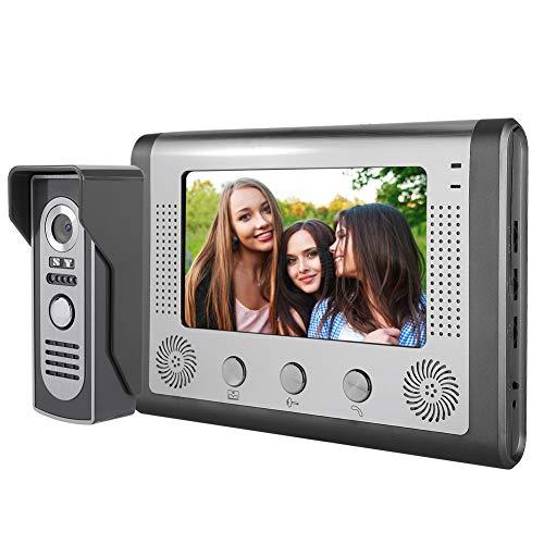 Video-deurintercom, winnaar waterdichte nachtzichtcamera video-intercom deurbel met 7 inch digitale TFT LCD-monitor / handsfree systeem voor thuis / kantoor (EU-stekker)