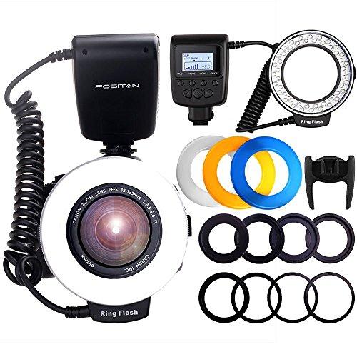 FOSITAN リングフラッシュ LED 48球 マクロリングライト 接写専用ストロボ 4種類ディフューザーと8種類交...