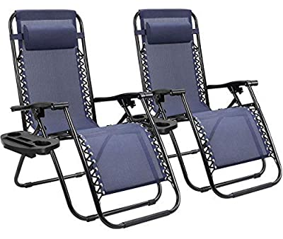 Homall Zero Gravity Chair Patio Folding Lawn Lounge Chairs Outdoor Lounge Gravity Chair Camp Reclining Lounge Chair with Cup Holder Pillows for Poolside Backyard and Beach Set of 2 (Blue)