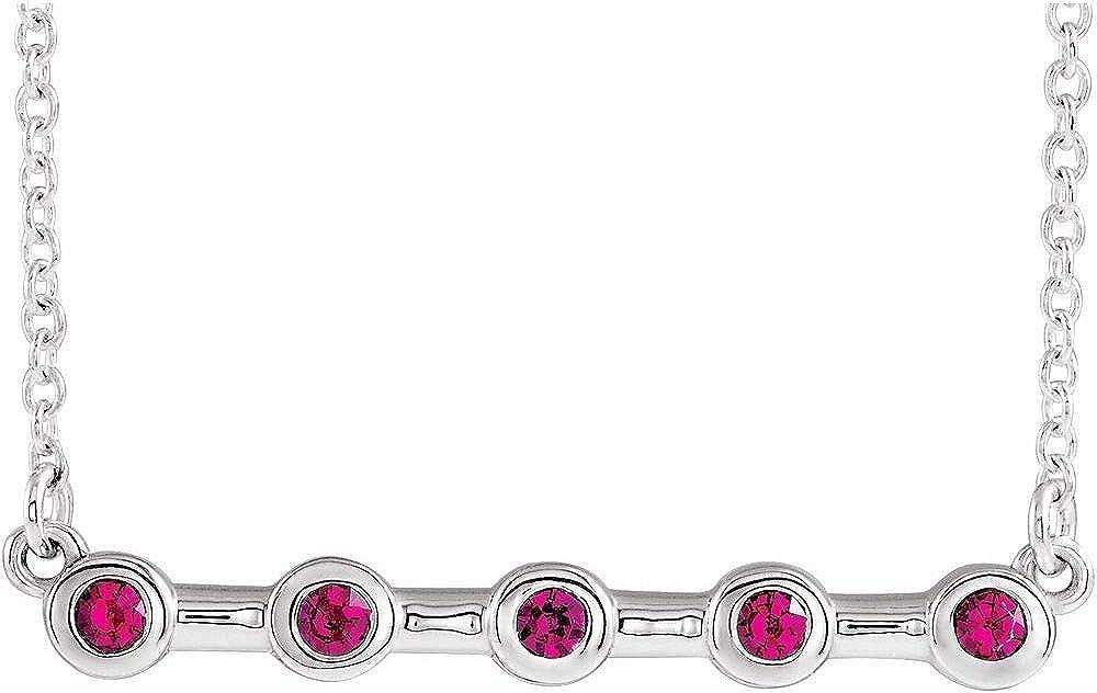 Solid Platinum Ruby Bezel-Set Boston Mall Bar Elegant 1 Pendant Chain Charm Necklace