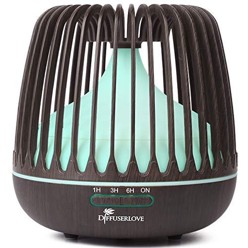 Diffuserlove Ätherisches Öl Diffusor 500ml Ultraschall Kühlnebelbefeuchter, 7 Farbige LED-Leuchten, Automatische Abschaltung für Zuhause Schlafzimmer Yoga Büro Küche