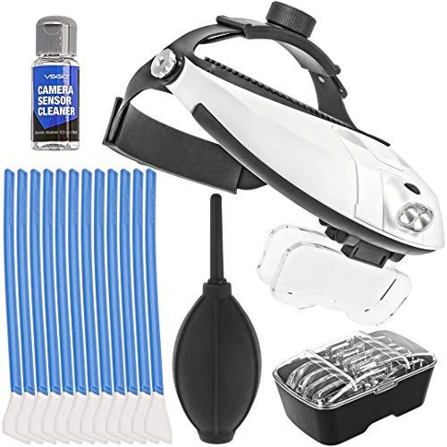 Profi Stirnlupe Brillenlupe Kopflupe mit Doppel LED Beleuchtung und 5x High Definition Vergrößerungsgläser inkl. professionelles Reinigungsset