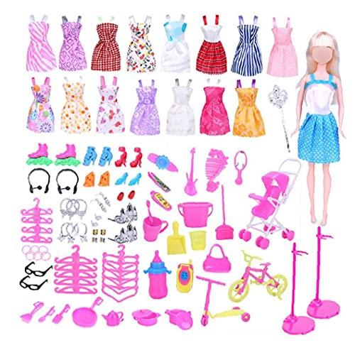 Abbigliamento E Accessori 114 Pz Abbigliamento Accessori Per Gioielli Per Bambole Abbigliamento Set Per Barbie Doll Fornitura Con Abiti Casual Scarpe Borse Borse Collana Braccialetto Corona Caniere