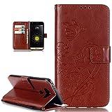LG G5Funda, LG G5Funda, ikasus repujado de flores mariposas piel sintética plegable tipo cartera, funda de piel tipo cartera con función atril para tarjetas de crédito ID soportes Case Cover para LG