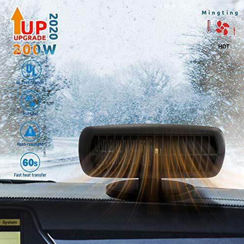 Mingting Auto-Heizung, tragbar, 12 V, 200 W, 2-in-1, Auto-Heizung, Kühlventilator, Abtauen von Windschutzscheibe, Fenster-Entfeuchter