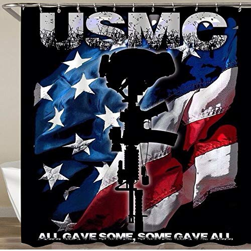 MEJAZING Shower Curtain,U-S-M-C Marine Corps,Polyester Fabric Waterproof Bath Curtains Hooks Included - 72 x 72 inches