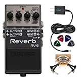 BOSS RV-6 Digital Reverb Pedal Bundle with Blucoil Slim 9V Power Supply AC Adapter, 2-Pack of Pedal...