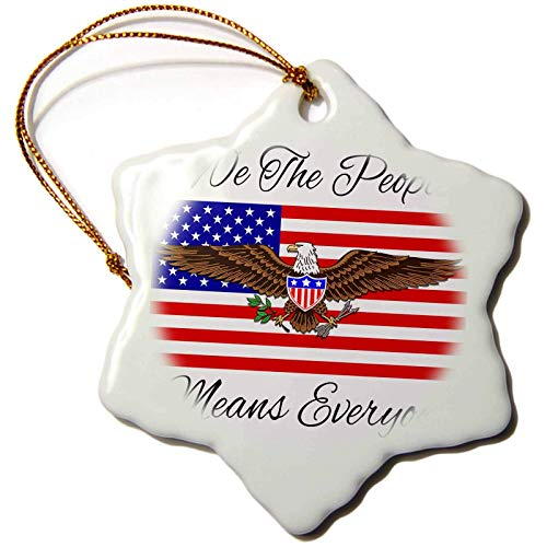 Kysd43Mill Macdonald Creative Studios ¨C Patriotic - We The People from The Constitution Means Everyone, with USA Flag. Christmas Ornaments Porcelain,Christmas Tree Decoration Ornaments