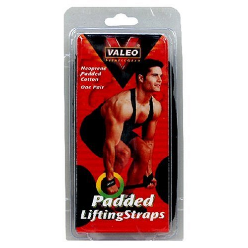 Valeo Padded Lifting Strap With 100% Heavy Duty Cotton Straps With Comfortable Neoprene Padding, Black, One Pair, VA4548