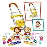 Baby Alive Littles, Shop 'N Stroll Twins, Blonde Hair Doll, Red Hair Doll, Stroller, 18 Accessories, Toy for Kids 3 Years Old & Up