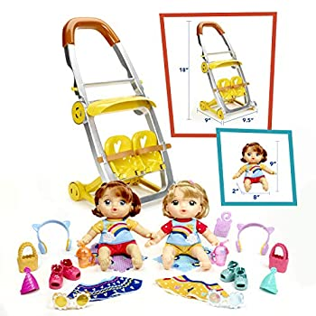 Baby Alive Littles Shop 'N Stroll Twins Blonde Hair Doll Red Hair Doll Stroller 18 Accessories Toy for Kids 3 Years Old & Up